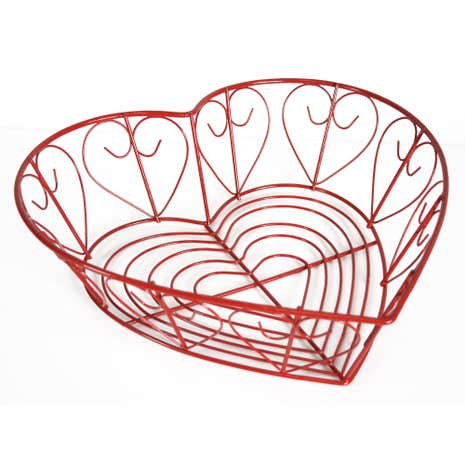 Cookshop Heart Shaped Red Wire Basket