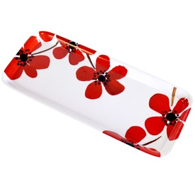 Red Painted Poppy Sandwich Tray