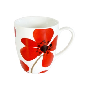 Red Painted Poppy Mug