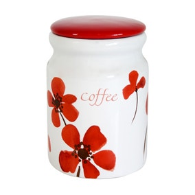 Red Painted Poppy Coffee Storage Jar