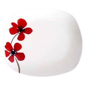 Red Painted Poppy Square Dinner Plate