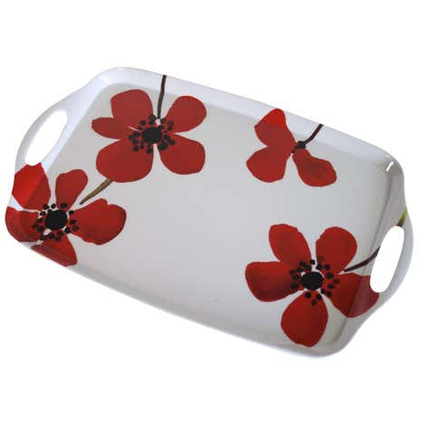 Red Painted Poppy Tea Tray