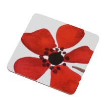 Red Painted Poppy Set of 4 Coasters