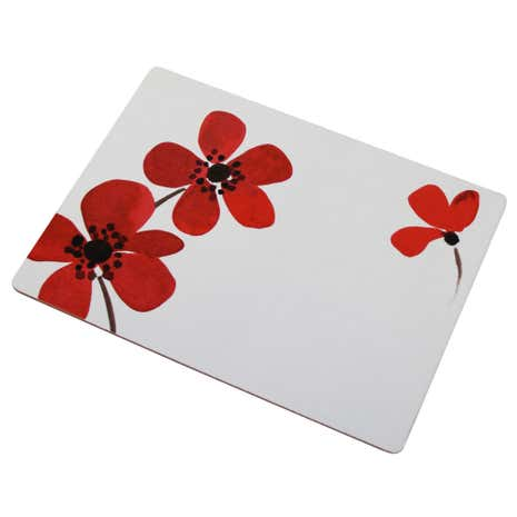 Red Painted Poppy Set of 4 Placemats