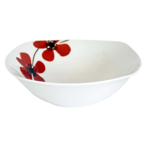 Red Painted Poppy Square Bowl
