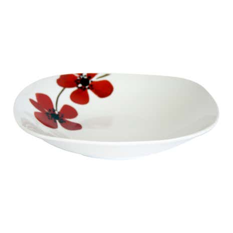 Red Painted Poppy Square Pasta Bowl