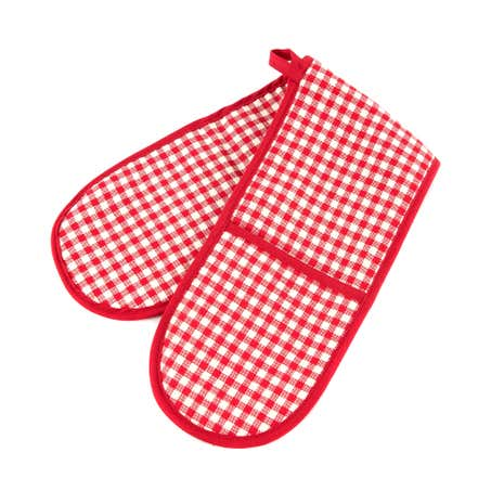 Gingham Red Double Oven Glove