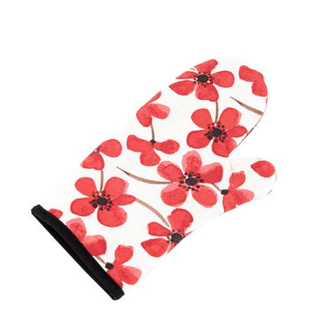 Red Painted Poppy Oven Glove