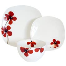Red Painted Poppy 12 Piece Dinner Set