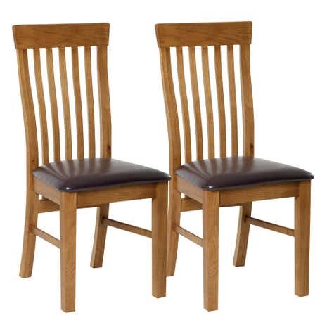 Charming Dorchester Oak Pair Of Dining Chairs