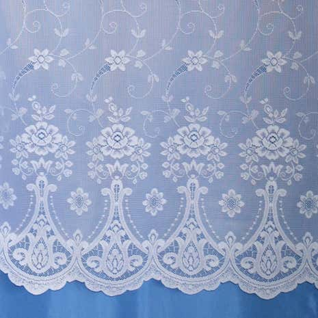 Pembury White Lace Net Curtain Fabric