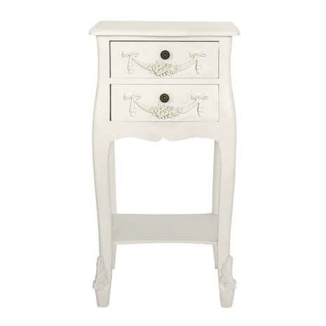 Toulouse White 2 Drawer Bedside Table | Dunelm