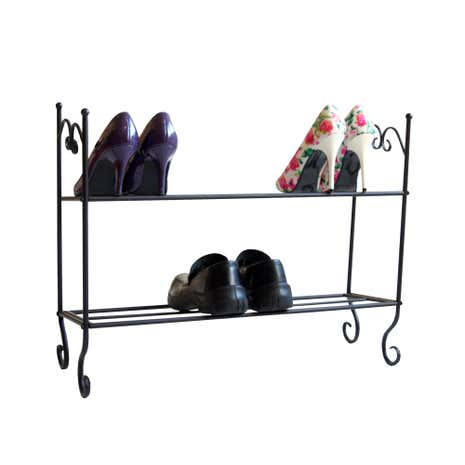 Vintage Black 2 Tier Shoe Rack