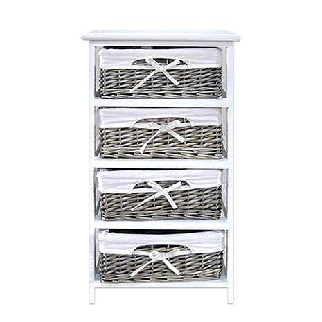 Grey Split Willow 4 Drawer Tower