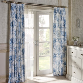Dorma Toile Blue Lined Pencil Pleat Curtains