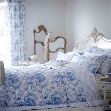 dorma toile blue quilted throw dunelm