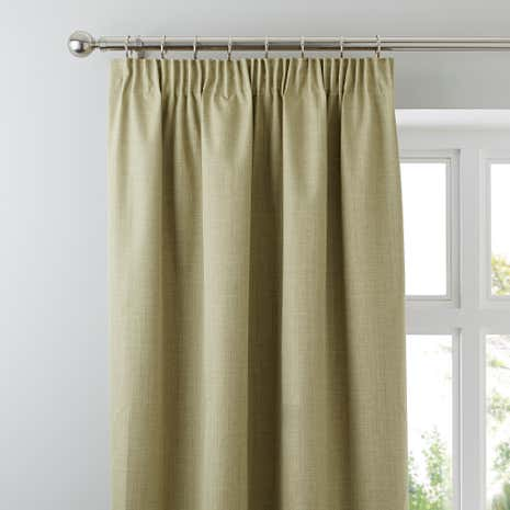 Solar Green Blackout Pencil Pleat Curtains