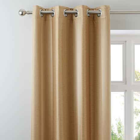 Monaco Antique Gold Lined Eyelet Curtains