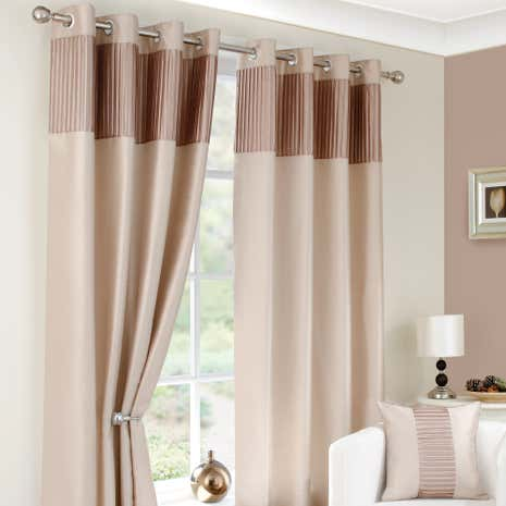 Montreal Taupe Lined Eyelet Curtains