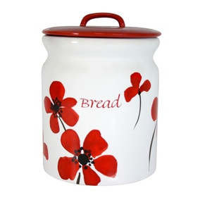 Red Painted Poppy Bread Bin
