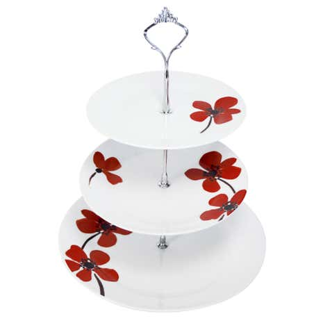Red Painted Poppy Cake Stand