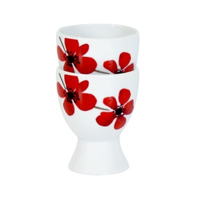 Red Painted Poppy Pair of Egg Cups