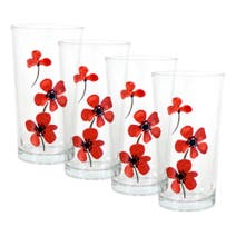 Red Painted Poppy Set of 4 Glass Tumblers