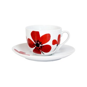 Red Painted Poppy Cup and Saucer Set