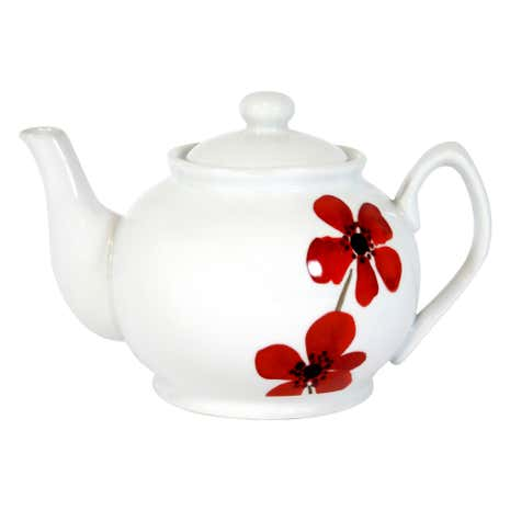 Red Painted Poppy Teapot