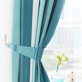 Finley Teal Pencil Pleat Curtains