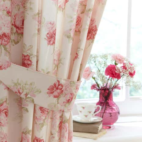 Annabella Pink Thermal Pencil Pleat Curtains