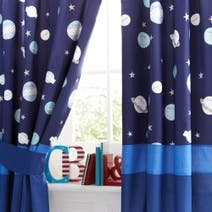 Space Mission Blackout Pencil Pleat Curtains