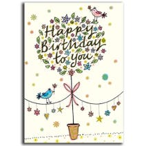 Paper Rose Neapolitan Topiary Tree Birthday Card