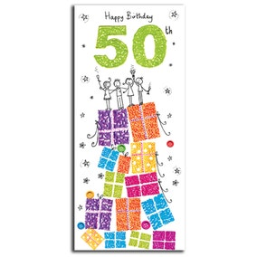 Paper Rose Sugar Pips 50th Birthday Card