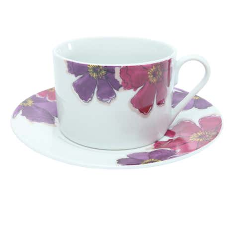 Mulberry Flower Teacup and Saucer