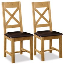 Aylesbury Pair of Oak Cross Back Padded Dining Chairs