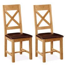 Harrogate Pair of Oak Cross Back Padded Dining Chairs