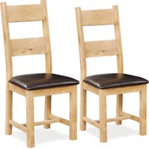 Harrogate Pair of Oak Padded Dining Chairs