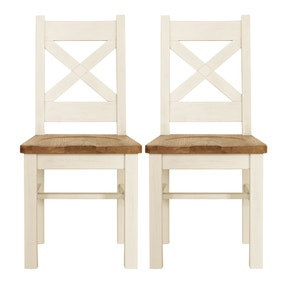 Salcombe Ivory Pair of Dining Chairs