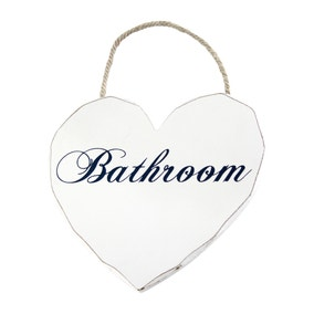 Vintage Hanging Heart Bathroom Sign