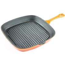 Orange Spectrum Cast Iron Grill Pan