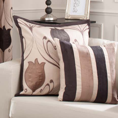 Lalique Chocolate Stripe Cushion