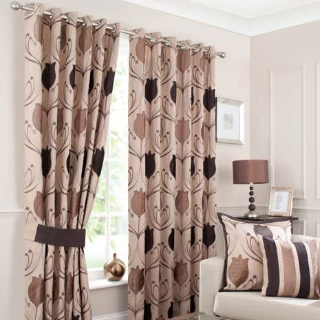 Lalique Chocolate Lined Eyelet Curtains