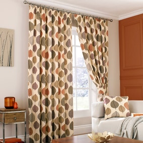 Regan Terracotta Lined Pencil Pleat Curtains