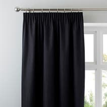 Solar Black Blackout Pencil Pleat Curtains