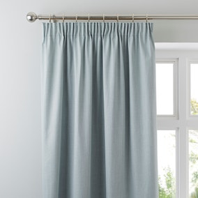 Solar Duck-Egg Blackout Pencil Pleat Curtains