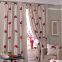 Vintage Poppy Lined Pencil Pleat Curtains