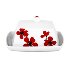 Red Painted Poppy Butter Dish