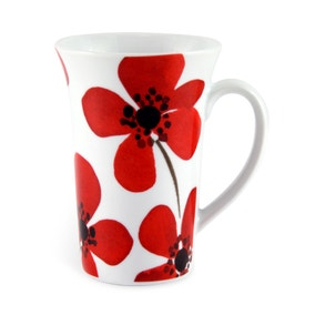 Red Painted Poppy Flared Mug