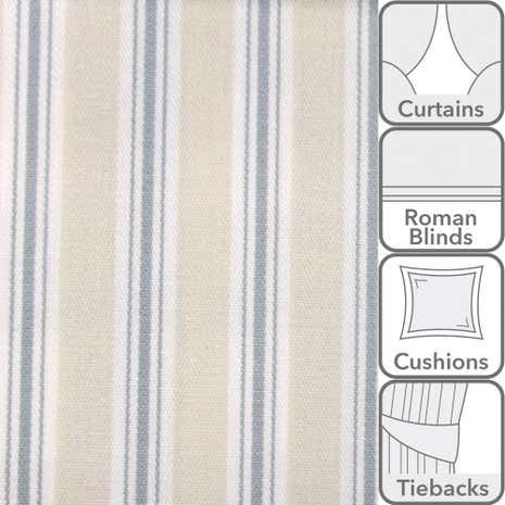 Harbour Blue Bay Stripe Fabric